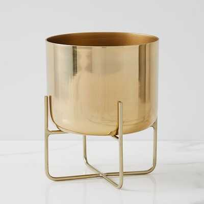 Spun Metal Tabletop Planter, Medium, Antique Brass - West Elm