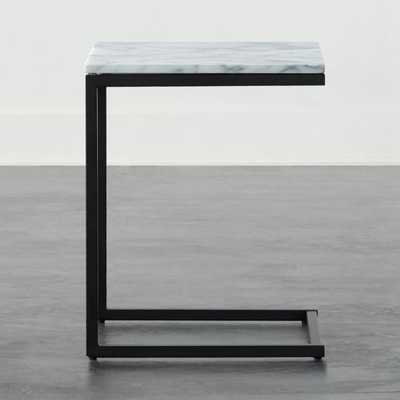 Smart Black C Table with White Marble Top - CB2