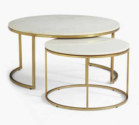 Delaney Round Nesting Coffee Tables, White Marble - Set Of 2 - Pottery Barn