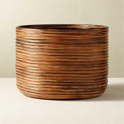 Basket Medium Burnt Rattan Planter - CB2