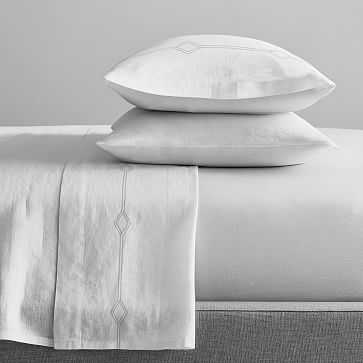 Striped Diamonds Embroidery Sheet Set, Full, White + Frost Gray - West Elm