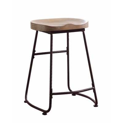 Benjara Rustic 24 in. Brown and Black Wood and Metal Counter Height Stool - Home Depot