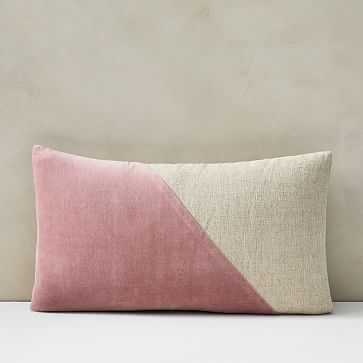 "Cotton Linen + Velvet Lumbar Pillow Cover, 12""x21"", Pink Stone - West Elm"