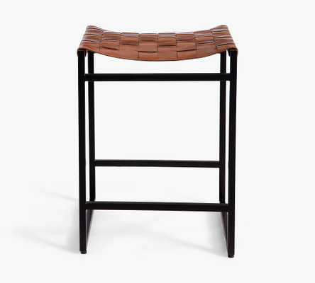 Hardy Woven Leather Backless Counter Stool, Bronze/Saddle Tan Leather - Pottery Barn