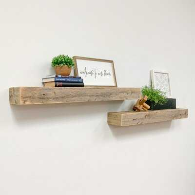 Spinney 2 Piece Pine Solid Wood Floating Shelf with Reclaimed Wood - Wayfair