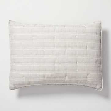 Hemp Cotton Hazy Stripe Standard Sham, Misty Gray - West Elm