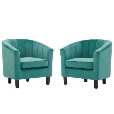 """Ziaa Performance Velvet 20"""" Barrel Chair - Wayfair"""