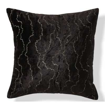 "Donna Karan Black Onyx Velvet Stitch 20"" Throw Pillow - Perigold"