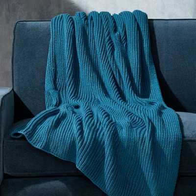 Teal Cable Knit Throw - Crate and Barrel