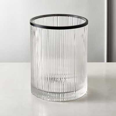 Athena Ribbed Glass Round Wastecan - CB2