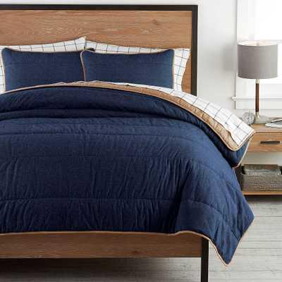 Camden Comforter, Full/Queen & 2 Standard Shams , Faded Navy - Pottery Barn Teen