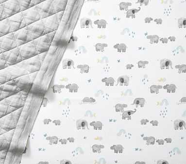 Organic Flannel Hippo Crib Fitted Sheet, Crib Fitted, Grey - Pottery Barn Kids
