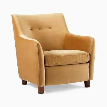 Teddy Chair, Astor Velvet, Saffron, Dark Walnut - West Elm