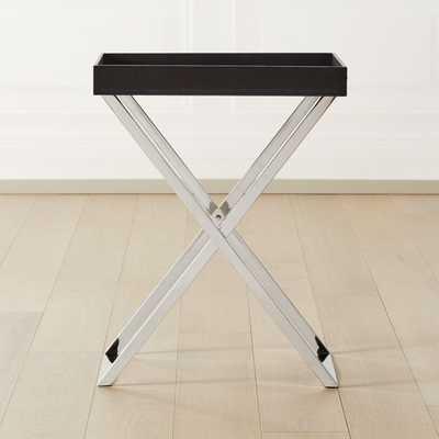 Fulton Black Leather Tray Table - CB2
