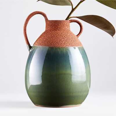 Ashland Rust and Teal Ceramic Vase with Handle - Crate and Barrel