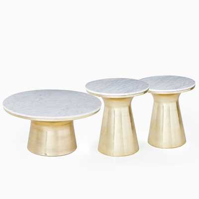 Marble-Topped Pedestal Coffee Table + Side Table Set - West Elm