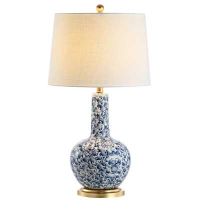 """JONATHAN Y Chinois 30"""" Ceramic/Iron Classic Cottage LED Table Lamp, Blue/White - Home Depot"""