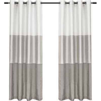 Rodney Striped Semi-Sheer Grommet Curtain Panels Set of 2 - AllModern
