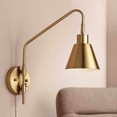 Marybel Antique Brass Downlight Plug-In Swing Arm Wall Lamp - Style # 76H56 - Lamps Plus
