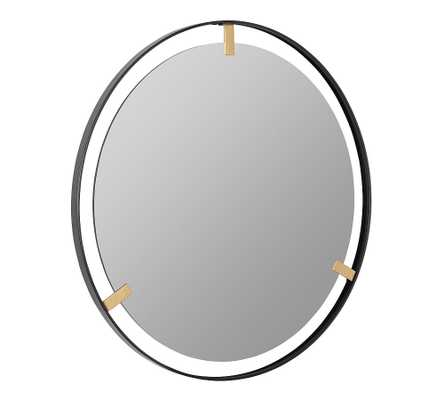 "Aspen Black And Gold Round Wall Mirror, 36"" - Pottery Barn"