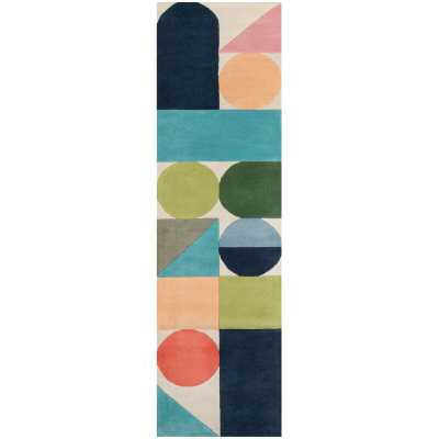 "Novogratz Geometric Handmade Tufted Wool Blue/Green/Orange Area Rug Rug Size: Runner 2'3"" x 8' - Perigold"