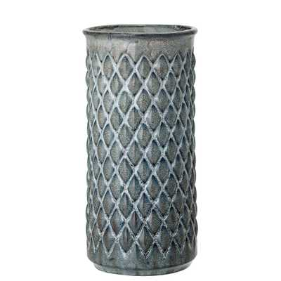Blue Embossed Diamond Stoneware Vase - Moss & Wilder