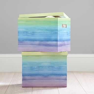 Paper Storage Bins, White/Charcoal Grid, Medium - Pottery Barn Teen