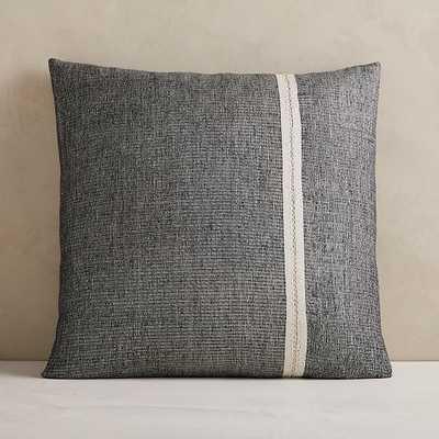 "Silk Mono Stripe Pillow Cover, 24""x24"", Black - West Elm"