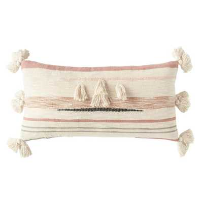3R Studios Pink and Brown Striped Kilim Lumber 28 in. x 14 in. Throw Pillow - Home Depot