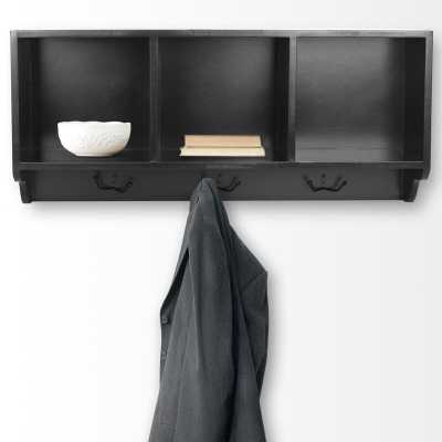 Alice Wall Shelf & 3 Hook Wall Coat Rack Color: Black - Perigold