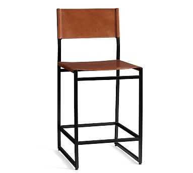 Hardy Leather Counter Stool, Bronze/Saddle Tan Leather - Pottery Barn