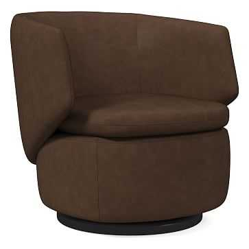 Crescent Swivel Chair, Poly, Vegan Leather, Molasses - West Elm
