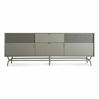 """Blu Dot Dang TV Stand for TVs up to 88"""" Color: Risk-Averse Grey - Perigold"""