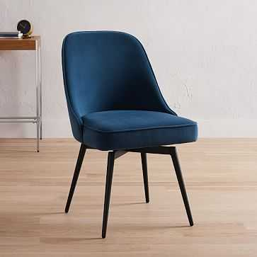 Mid-Century Office Chair, Peformance Velvet, Blue Lagoon, Antique Bronze - West Elm