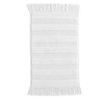 Striped Tassel Organic Bath Rug, 22x36, White - Pottery Barn