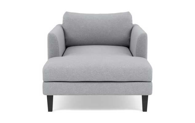 Owens Chaise Chaise Lounge with Grey Gris Fabric and Painted Black legs - Interior Define