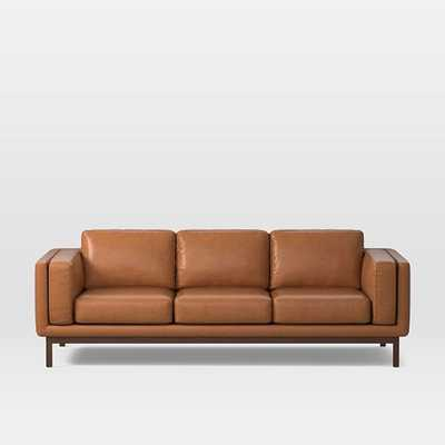 "Dekalb 96"" Sofa, Poly, Saddle Leather, Nut, Acorn - West Elm"