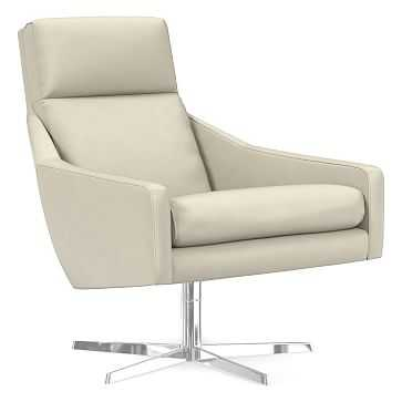 Austin Swivel Base Chair, Poly, Vegan Leather, Snow, Polished Stainless Steel - West Elm