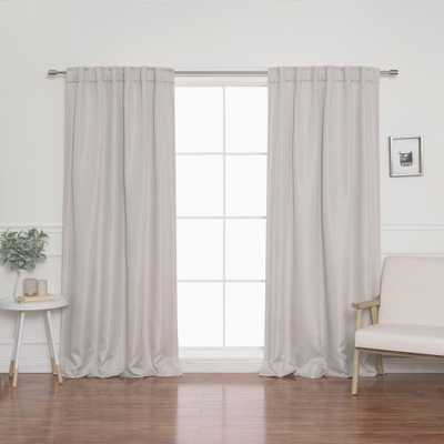 Best Home Fashion Basketweave Faux Linen Back Tab Blackout Curtains, Beige - Home Depot