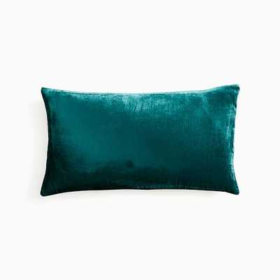 "Lush Velvet Pillow Cover, 12""x21"", Botanical Garden - West Elm"