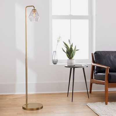 Sculptural Floor Lamp, Geo Mini, Clear, Antique Brass - West Elm