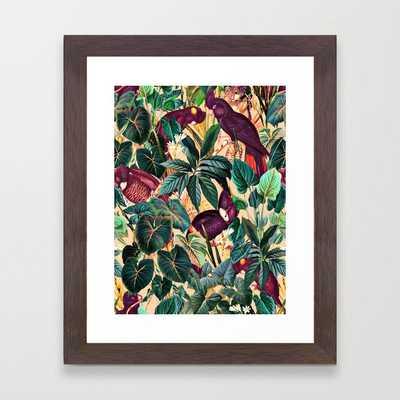 Floral And Birds Xlii Framed Art Print by Burcu Korkmazyurek - Conservation Walnut - X-Small-10x12 - Society6