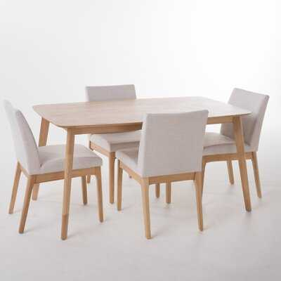 Tunis 5 Piece Dining Set with Straight Table Legs - AllModern