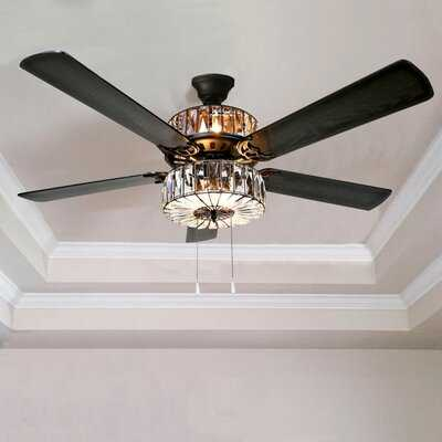 """52"""" Caged Crystal 5 Blade Ceiling Fan, Light Kit Included - Birch Lane"""