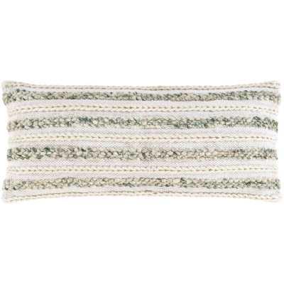 Striped Lumbar Pillow Cover Color: Cream/Emerald - Perigold