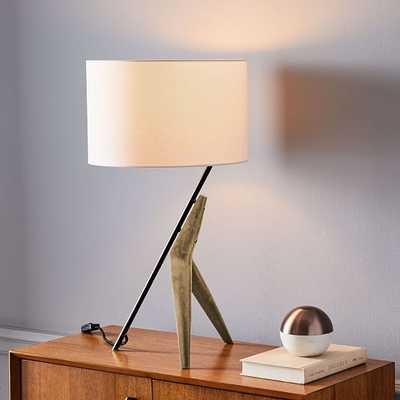 Caldas Table Lamp, White Linen, Natural Ash/Dark Bronze-Individual - West Elm