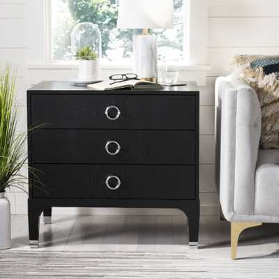 Lorna 3 Drawer Contemporary Nightstand - Black - Arlo Home - Arlo Home