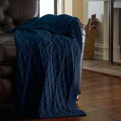 Dyllan Cable Diamond Knit Cotton Throw - Birch Lane