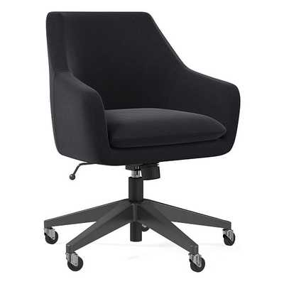 Helvetica Office Chair, Performance Velvet, Shadow, Antique Bronze - West Elm