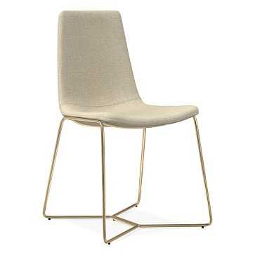 Slope Dining Chair, Performance Coastal Linen, Oatmeal, Antique Brass - West Elm